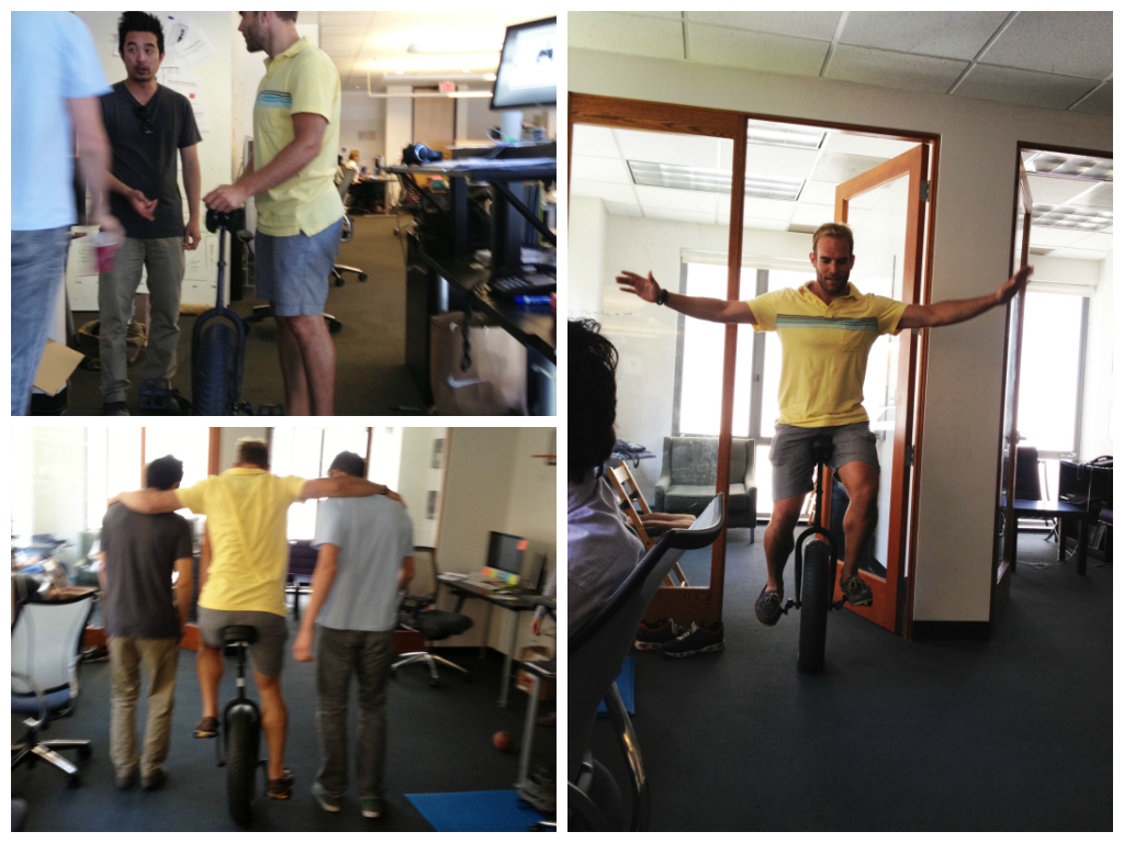 Learn to unicycle at work